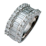 Baguette and Brilliant Cut Diamond ring