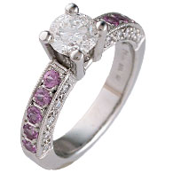 Brilliant Cut Engagement Ring Pink Sapphire Sidestones