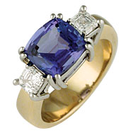 Antique Cushion Cut Tanzanite ring