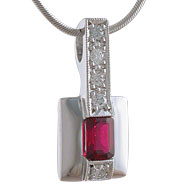 Emerald Cut Ruby Diamond Pendant