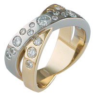 Round Brilliant Punch Set Crossover Ring