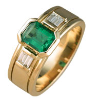 Emerald and Baguette Custom Design Ring
