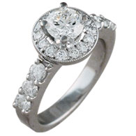 Brilliant Cut Halo Cluster Ring