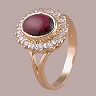 Oval Ruby Cabochon Ring