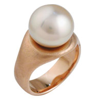 Pearl Engagement Ring in Yellow Gold