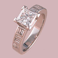 Princess Cut Engagement Ring Baguette Sides