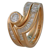 Brilliant Cut Baguette Diamond Engagement Set