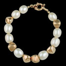 N1724M Gold Nugget and white Freshwater Pearl Bracelet