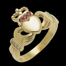 C9579 Claddagh Yellow Gold Ruby and Diamond Ring