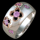 C1614 Blossom White and rose gold pink sapphire ring