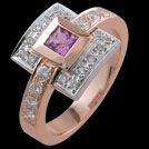 C1475 Bezel princess Pink Sapphire and Diamond bead set ring