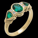 C900 Yellow Gold Oval & Trillion Biron Emerald and Diamond ring