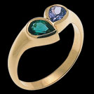 C425 Teardrop Biron Emerald and Tanzanite Yellow Gold ring