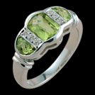 C965CK Checkerboard Barrell and half moon Peridot diamond ring