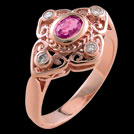C914 Scroll Rose Gold oval Pink Sapphire and diamond ring