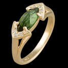 C1705 Marquise claw set Tourmaline and bead set diamond ring