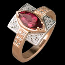 C1711 Rose and White gold Marquise Tourmaline and diamond ring