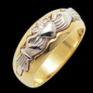 C1429 Claddagh yellow and white gold ring