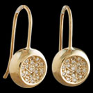 E1757 Yellow Gold pave Diamond set Concave Circle earrings