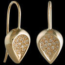 E1758B Yellow gold Diamond Concave Teardrop earrings