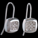 E1762 White gold Diamond pave set Concave Square earrings