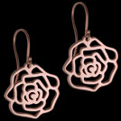 E1779 Rose Gold Rose drop earrings