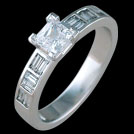 S1598 Princess Cut and Baguette White Gold Diamond Ring