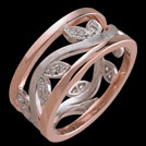 K1510 Tree of Life Rose and White Gold Diamond Wedding Ring