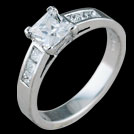 S1543 Princess Cut Diamond White Gold Engagement Ring