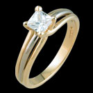 S1482P Two tone Princess Cut Diamond Solitaire Ring