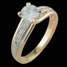 S1482 Diamond Yellow and White Gold Solitaire Ring