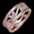 K15107mm Tree of Life Rose and White Gold Diamond Wedding Ring