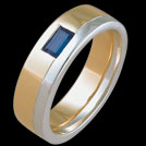 R1506 Two tone Baguette Sapphire mens ring