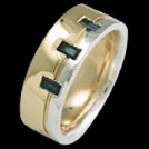 R1786 Yellow and White Gold Baguette Sapphire mens ring