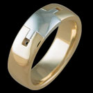R1610 Two Tone Square notched mens ring