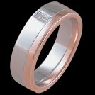 R1524 Rose and White Gold Baguette Diamond mens ring