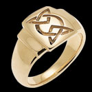 R1251 Celtic Signet ring in yellow gold
