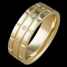 R1737 Diamond Grooved Yellow Gold mens ring