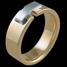 R1485 Yellow and White Gold Rectangle Bar mens ring