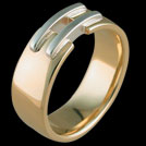 R1546 Yellow and White Gold Double Bar mens ring