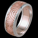 K1483B Two tone Spiral mens ring