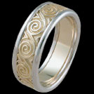 K470GB Two tone Spiral mens ring