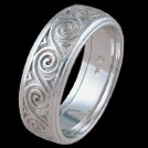 K471GB White Gold Spiral mens ring