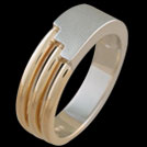 R1641MH White and Yellow Gold Bars mens ring
