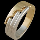 R1645 White Gold Bars with Yellow gold Scallop mens ring
