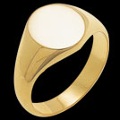R184 Yellow gold Large Round Signet mens ring