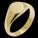 R184A Yellow Gold Small Round Signet mens ring
