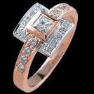 C1475 Princess Diamond Halo Rose and White Gold Ring