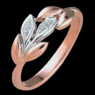 F1533D Leaf Ring Brilliant Diamonds Rose and White Gold