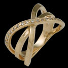 C1770 Crossover Triple Band Gold Diamond Ring